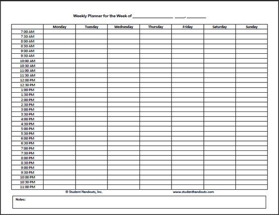 Schedule Blank Weekly Work Sheets