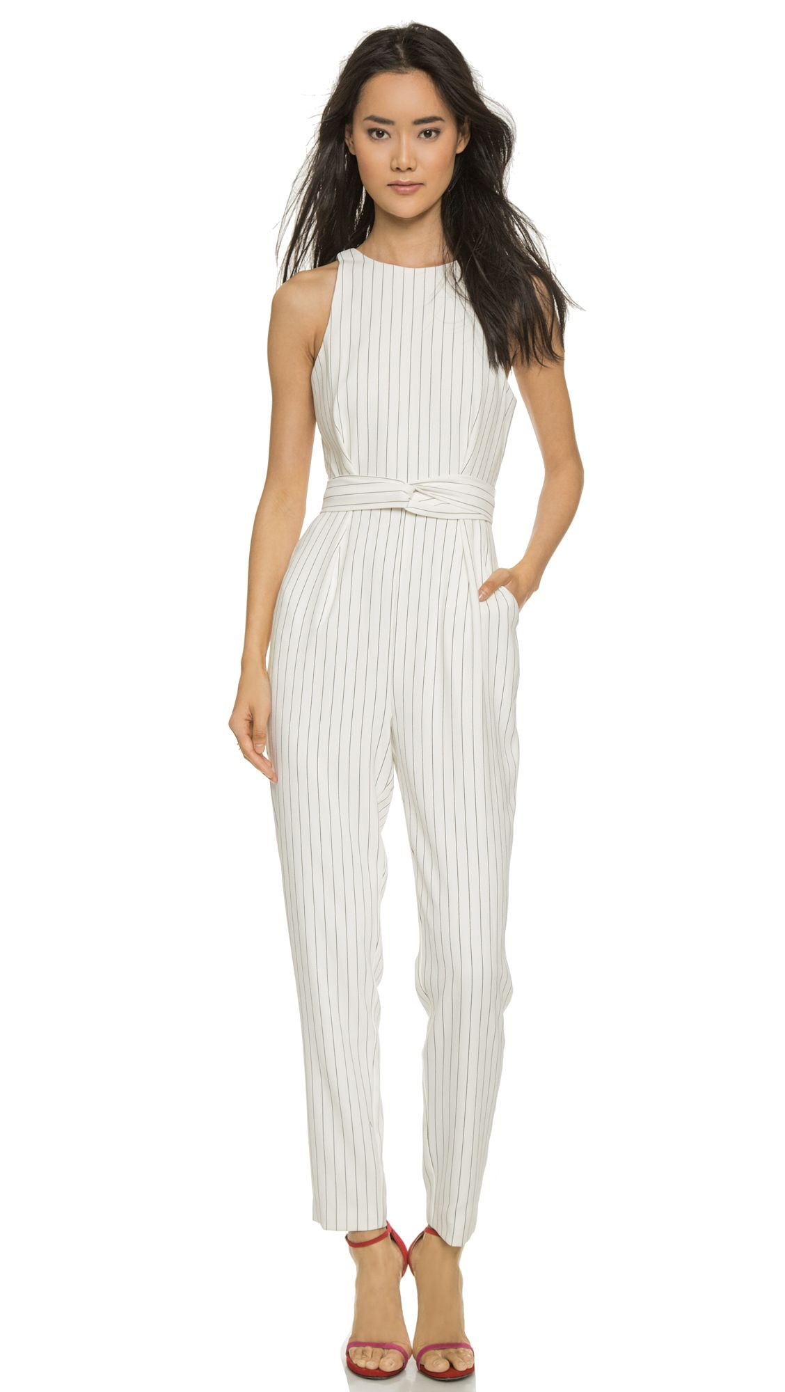 c0bc636a423 Finders Keepers As You Are Twist Long Jumpsuit - Pinstripe White in White  (Pinstripe white)