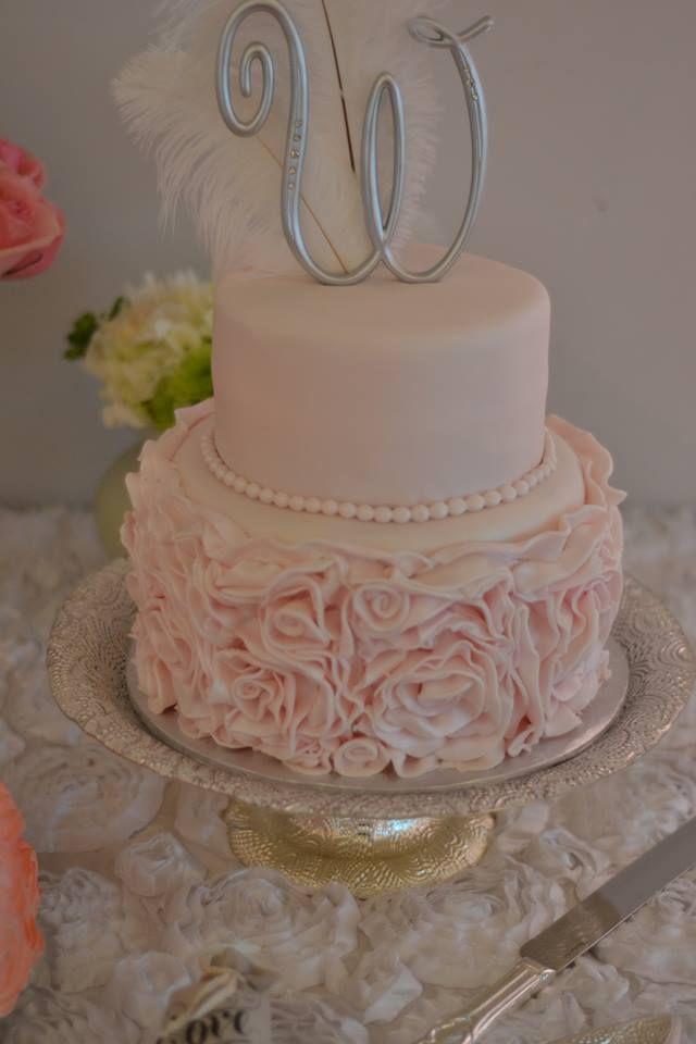 Blush Pink Rosettes Adorn This Elegant 2 Tier Cake Our