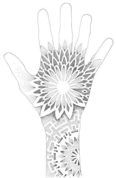 One Touch Sun Dotwork Tattoo Geometric Mandala Tattoo Geometric Tattoo Hand Mandala Hand Tattoos