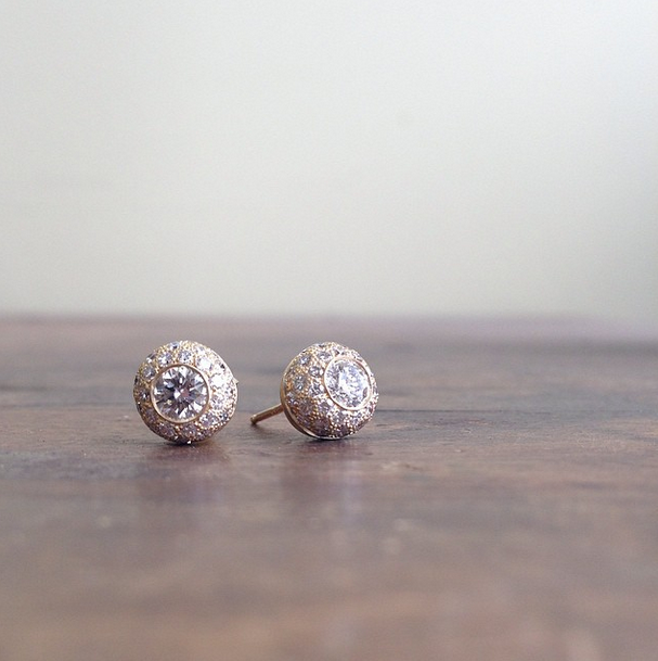 NEW: Turkish Ball Diamond Stud Earrings. Available soon! Please contact for details: info@annesportun.com