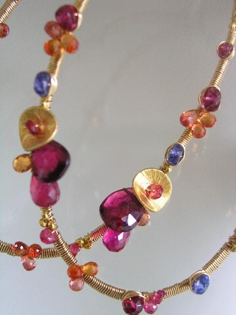 So In Love...Orange Sapphire Ruby Spinel Tanzanite Large Gold filled Original Oval Hoop Earrings