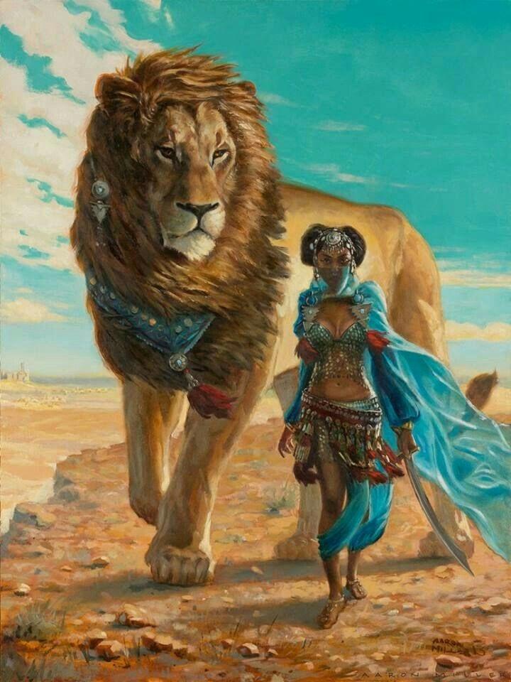 Black woman lion art female art