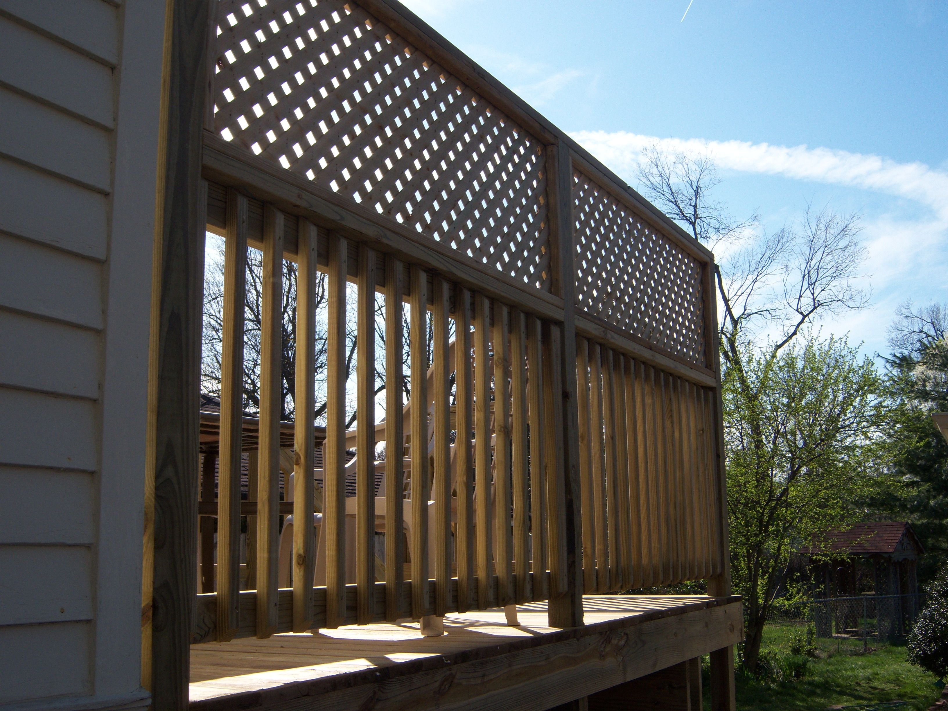 deck with privacy lattice on railing wood decks deck. Black Bedroom Furniture Sets. Home Design Ideas