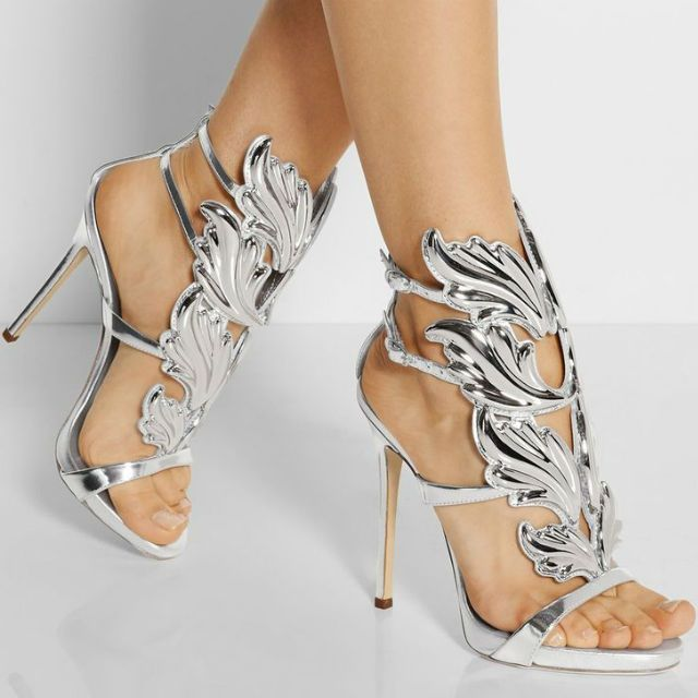 Hot Metal Wings Leaf Strappy Dress Sandal Silver Gold Red ...