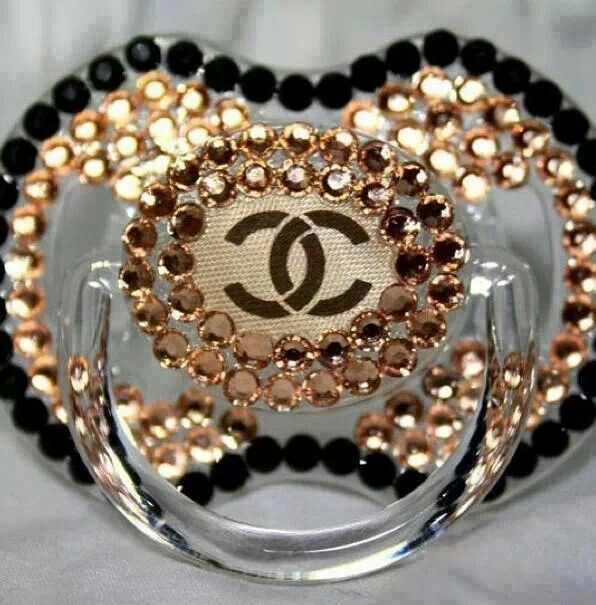Chanel style baby bling fashion pacifier GlamLuxePartyDecor FREE