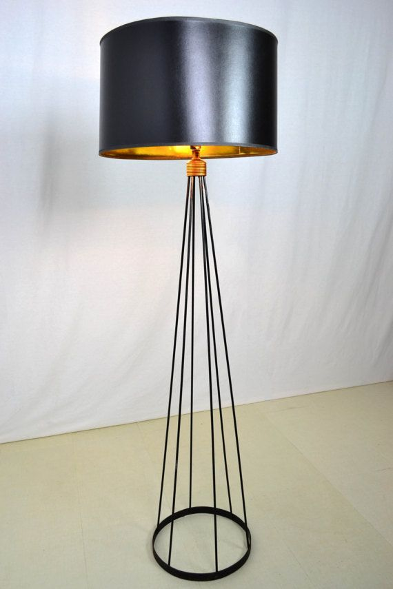 Beaumont chandelier floor lamp wrought iron and crystals acanthus mid century modern wrought iron wire floor lamp by offcentermodern greentooth Image collections