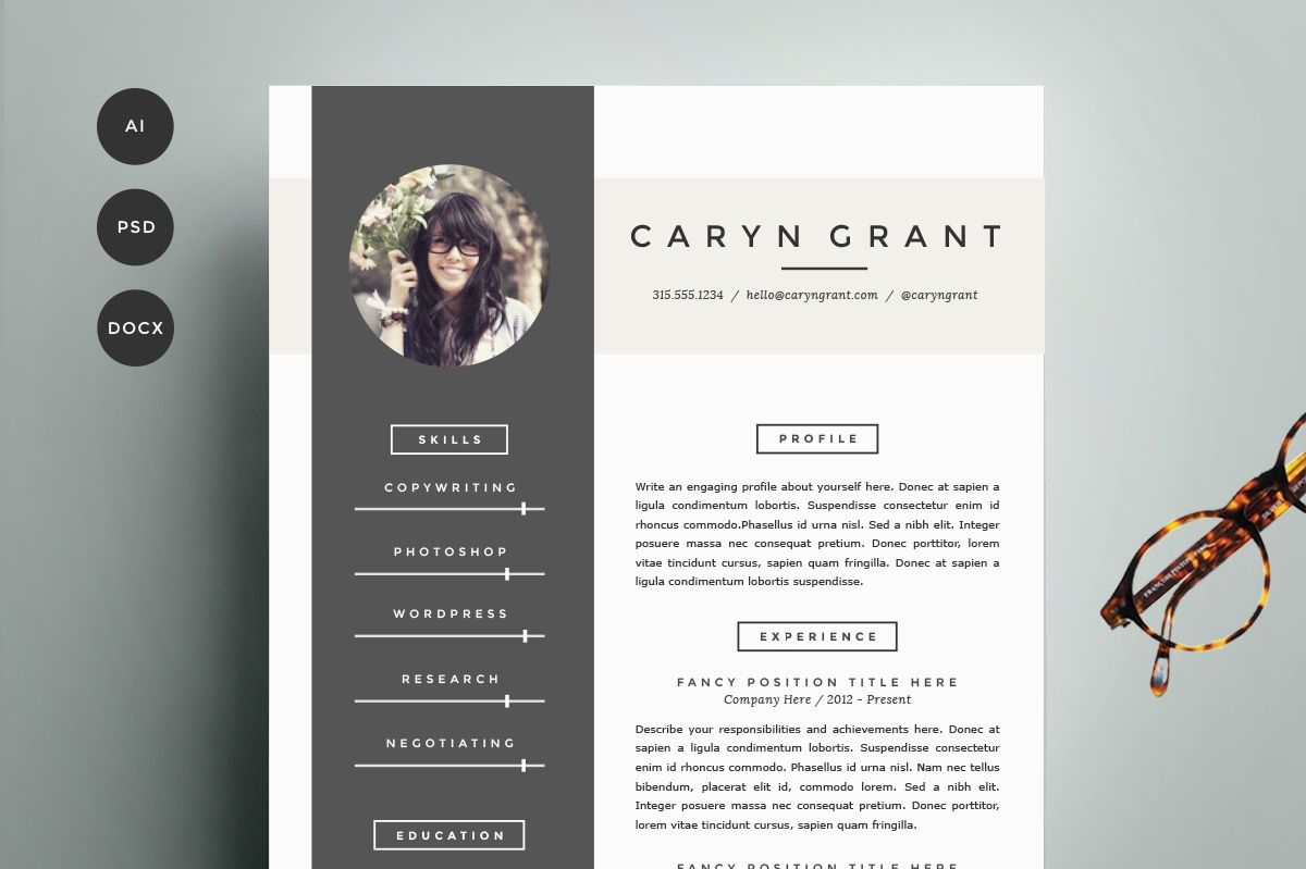 Resume Template 4 Pack | CV Template | Cv template, Template and ...