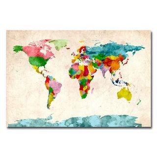 Michael tompsett watercolor world map canvas art overstock michael tompsett watercolor world map canvas art overstock shopping top gumiabroncs Gallery