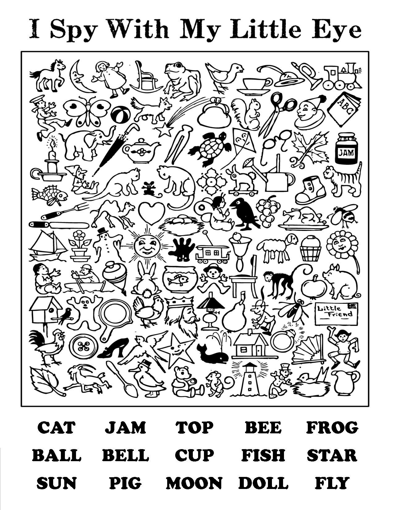 i spy with words - helps with letter and word recognition   Coloring pages [ 1650 x 1275 Pixel ]