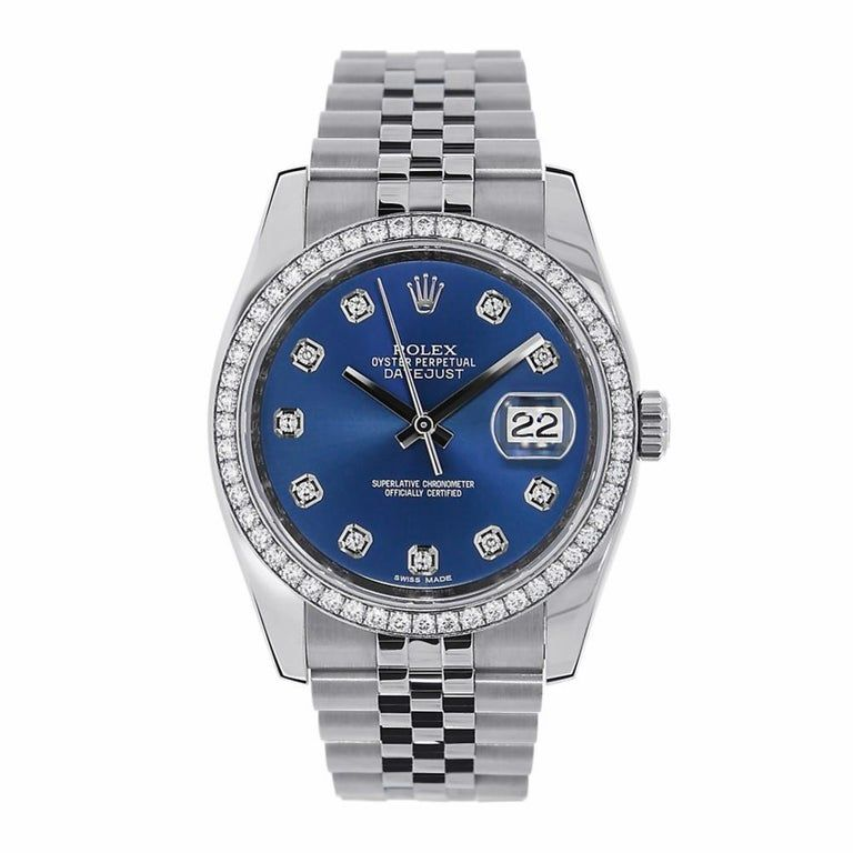 Rolex - Datejust Stainless Dial Bezel Watch 116244 Contemporary Diamond Steel #stainlesssteelrolex