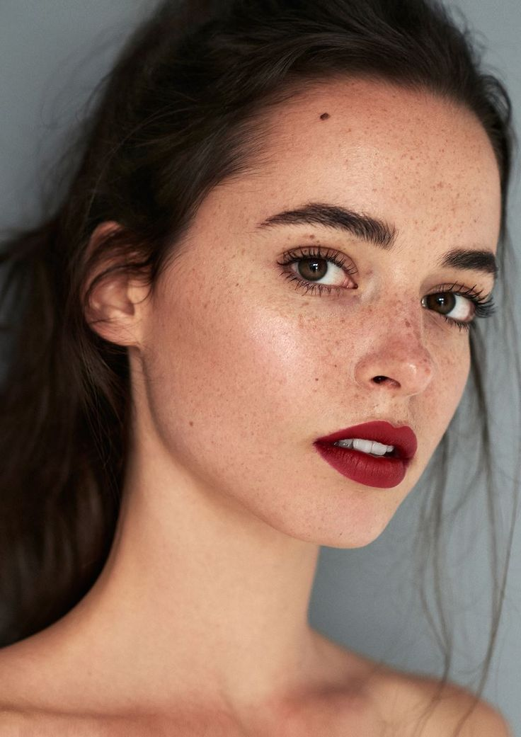 Photo of deep red lip, natural, freckled, radiant skin, natural but defined brows. weronika… – wedding ideas