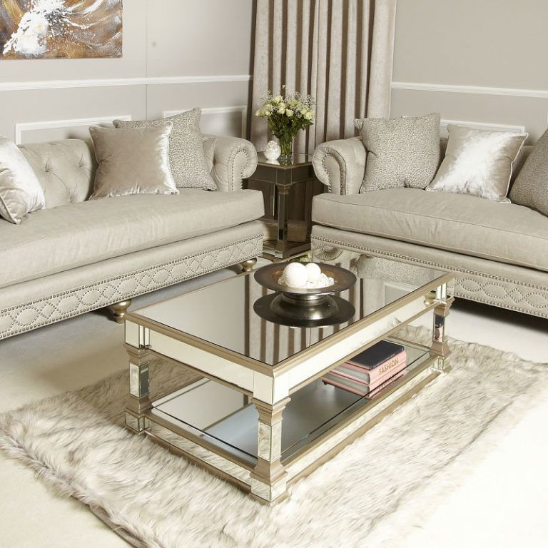 Athens gold mirrored tv entertainment stand large