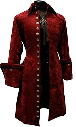 2cc032971eb4 Men s Historical French Aristocrat Admiral Pirate Captain Burgandy Velvet  Coat with Brass Buttons by Shrine of Hollywood