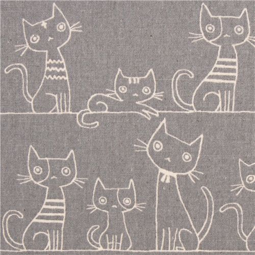 grey brushed Canvas cat fabric by Kokka from Japan - this pattern is narrative and not repeated
