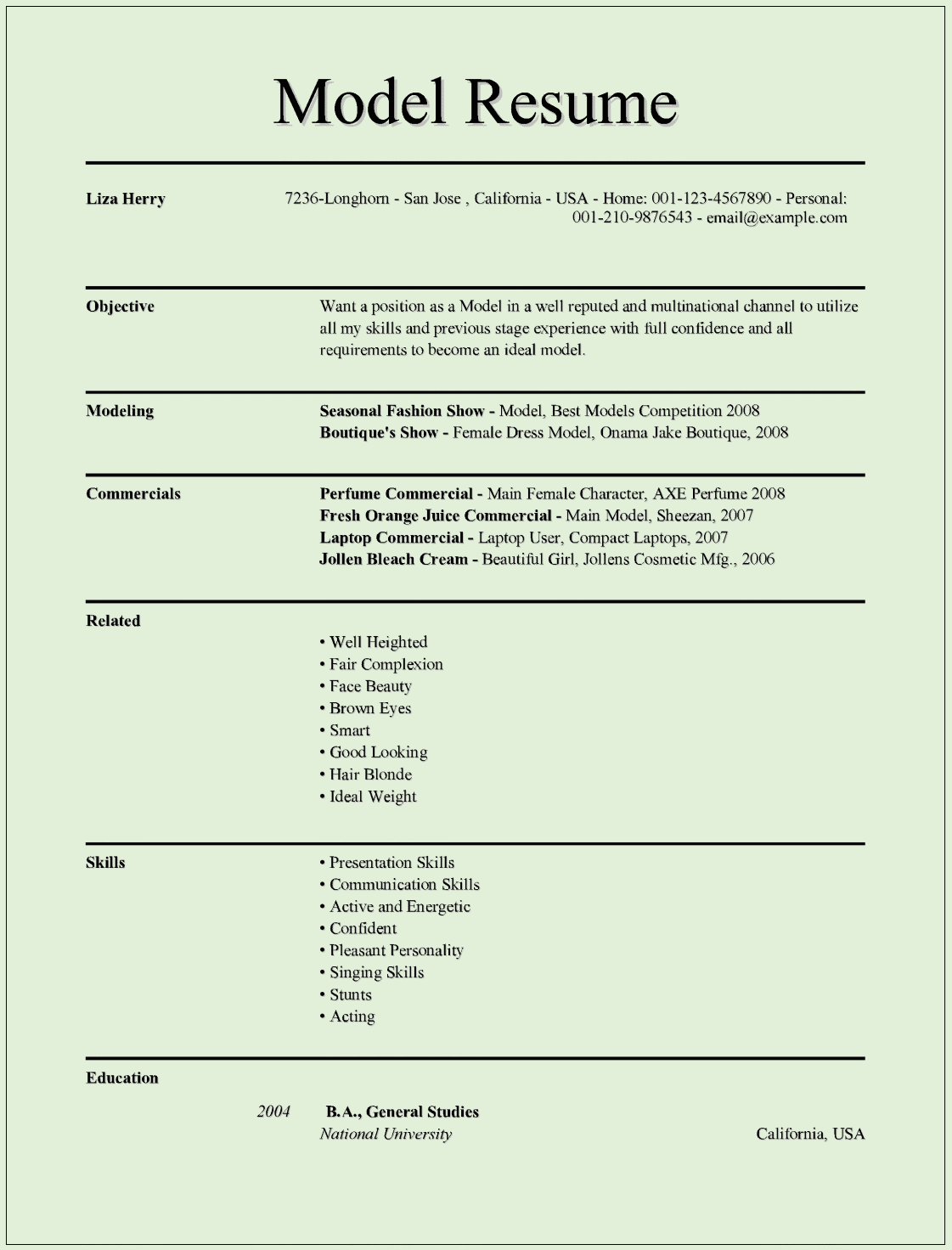Model Resume Templates For Ms Word Free Example Format Download Best Resume Template Resume Templates Resume