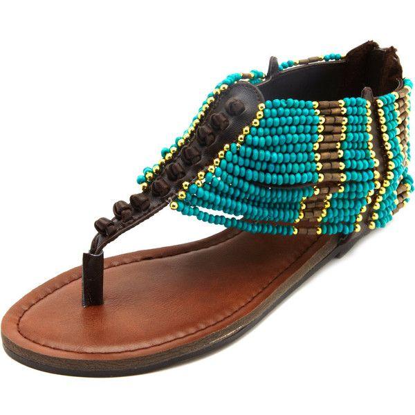 Beaded Cuff T-Strap Sandal