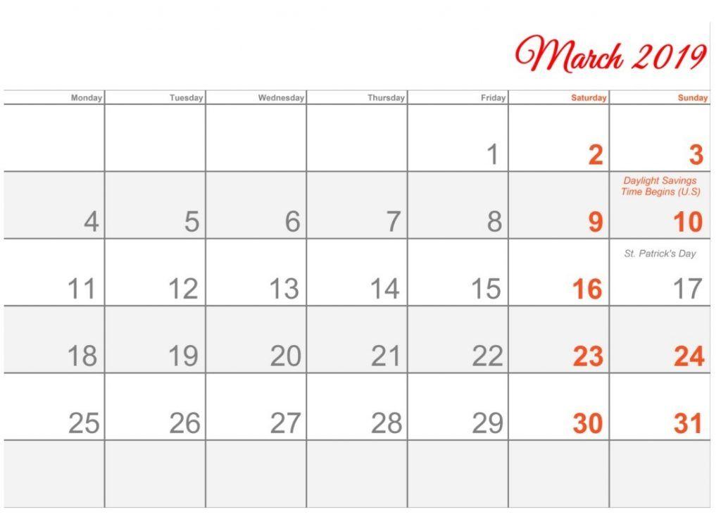 March 2019 Calendar Word #march #march2019calendar #march2019
