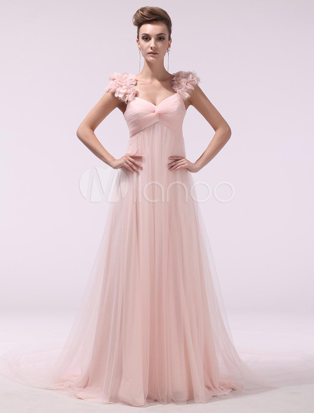Peach prom dresses long chiffon d flowers evening dress empire