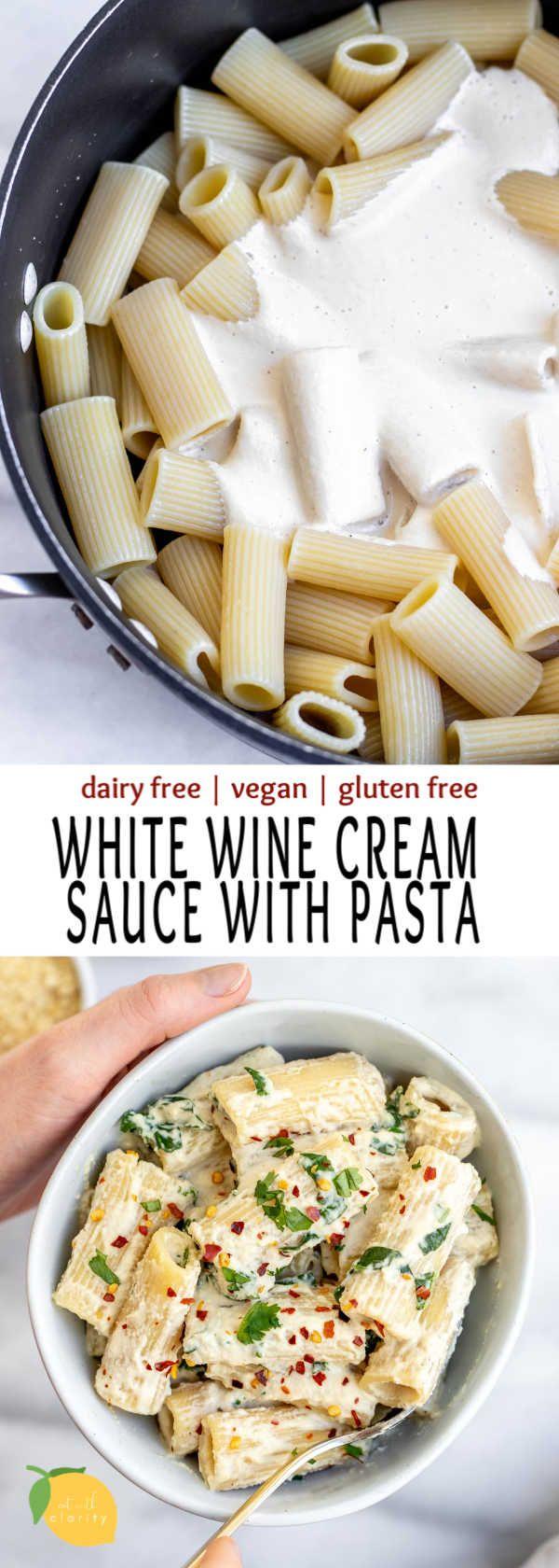 Vegan White Wine Cream Sauce With Rigatoni Eat With Clarity Recipe In 2020 Dairy Free Pasta White Sauce Recipes Dairy Free Pasta Recipes