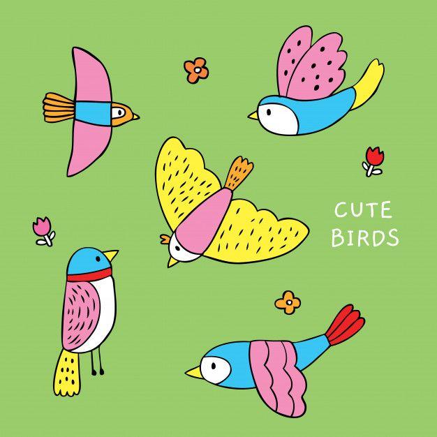 Vector De Pajaros Coloridos Lindos De Dibujos Animados Birdies