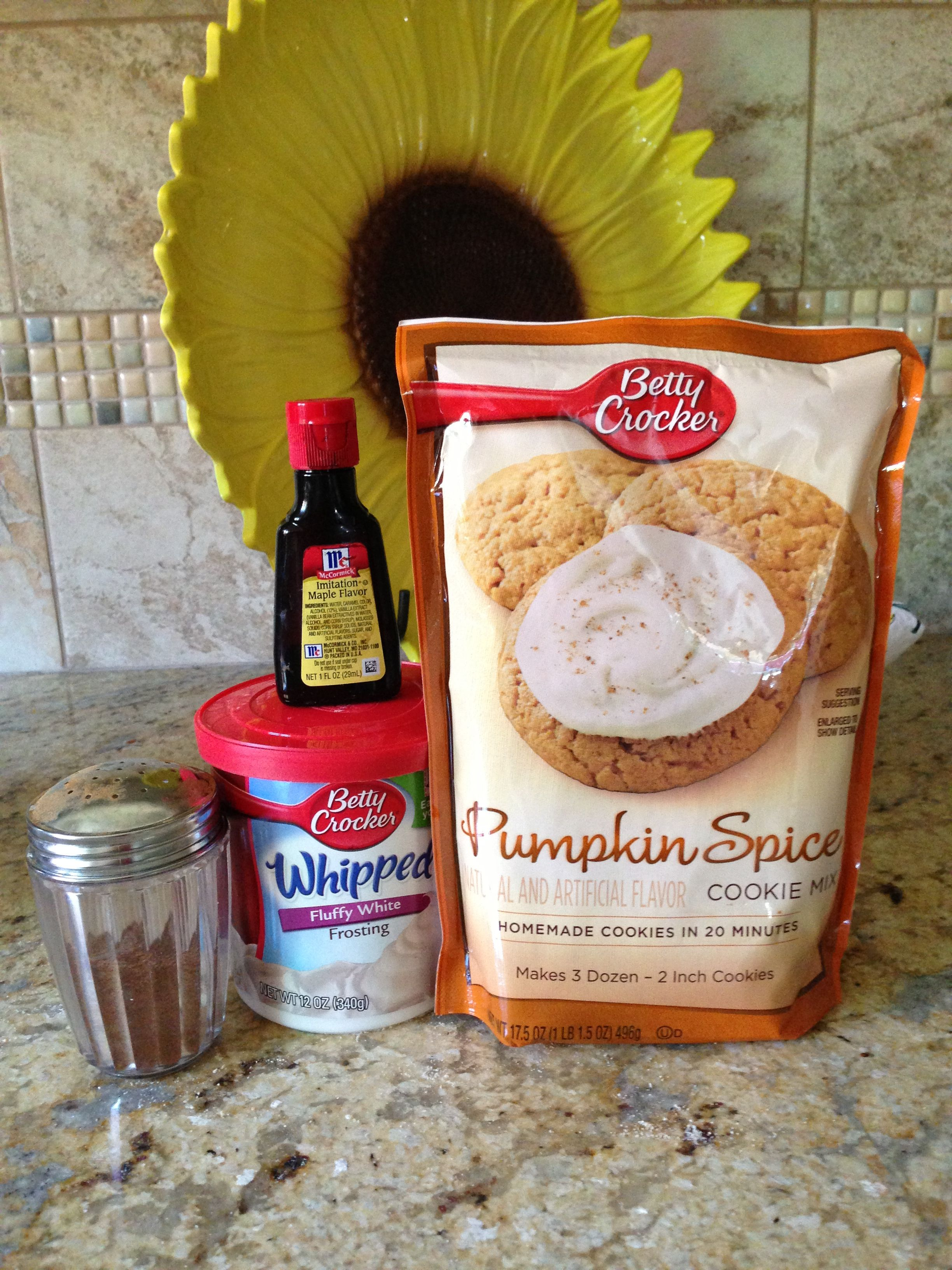 Pumpkin spice cookies Make cookies as directions suggest For frosting: Betty Crocker cream cheese frosting (1can) Maple flavoring Sprinkle with 50/50 mixture of sugar/pumpkin pie spice