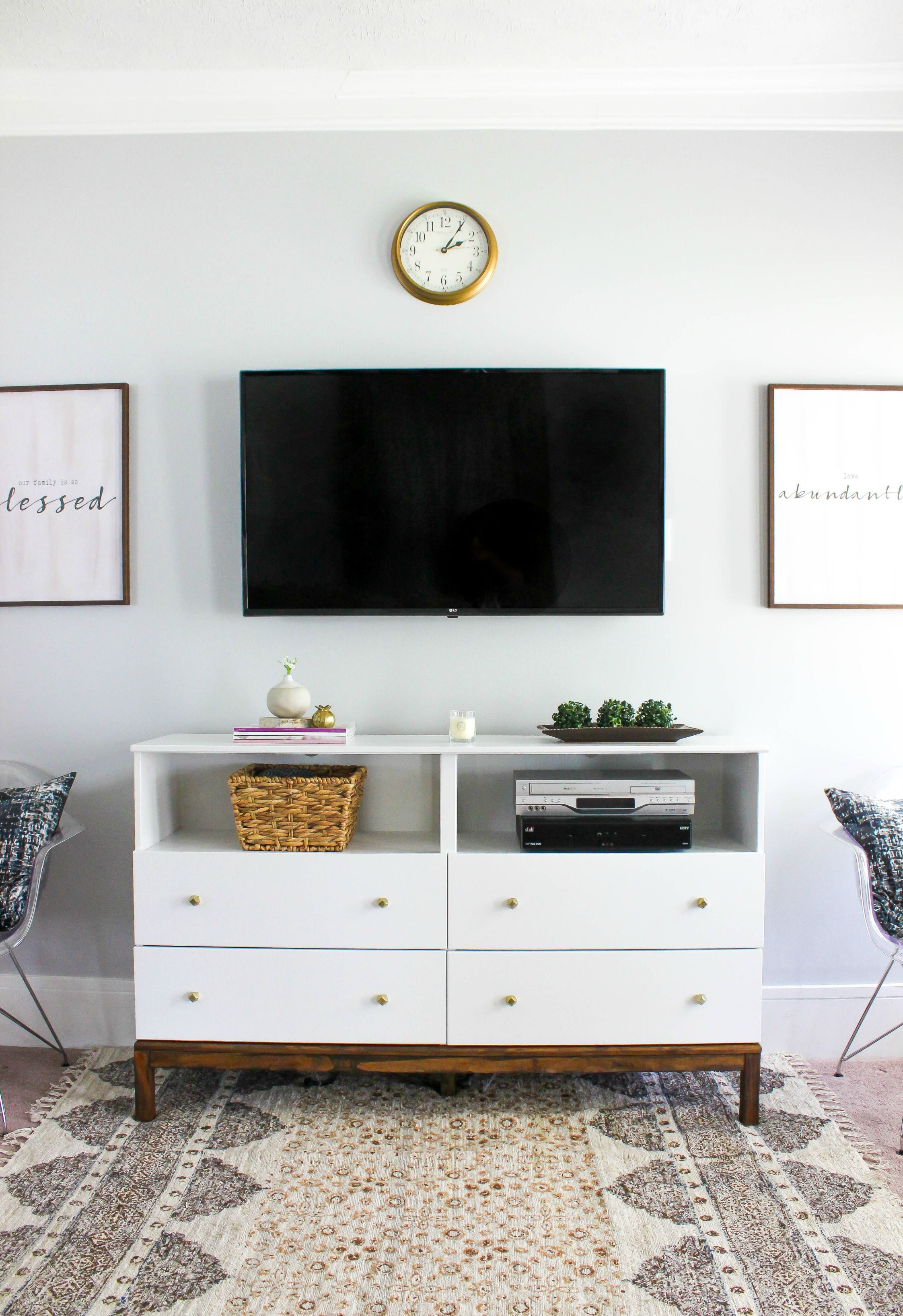Ikea Dresser To Tv Stand Transformation Living Room Tv Stand