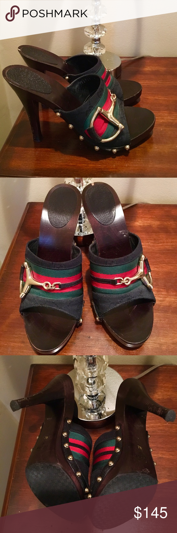 Gucci - Classic Clog 7.5 Classic , red, black, green, horsebit clog - Slightly worn, couple of scuffs can be buffed... Gucci Shoes Mules & Clogs