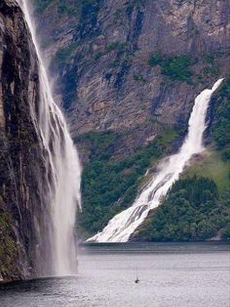Cachoeiras surpreendentes em todo o Mundo - Cachoeiras em Fiorde de Geiranger, na Noruega