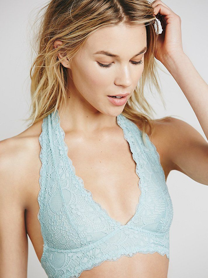 80ccf82521 Free People Womens Galloon Lace Halter Bra in Teal (Icy Mint)