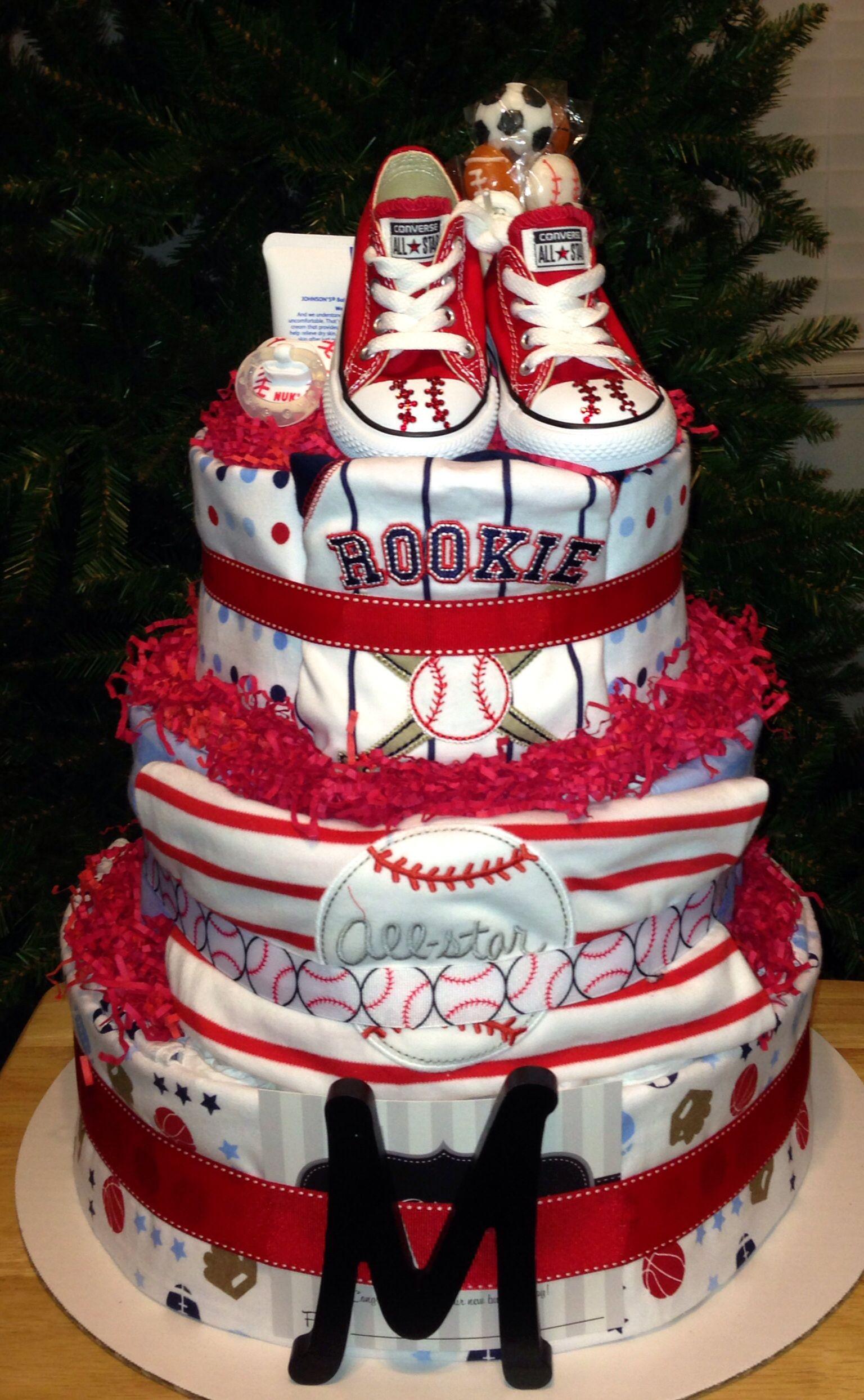 Baseball Diaper Cake Diaper Cakes Pinterest Diapers