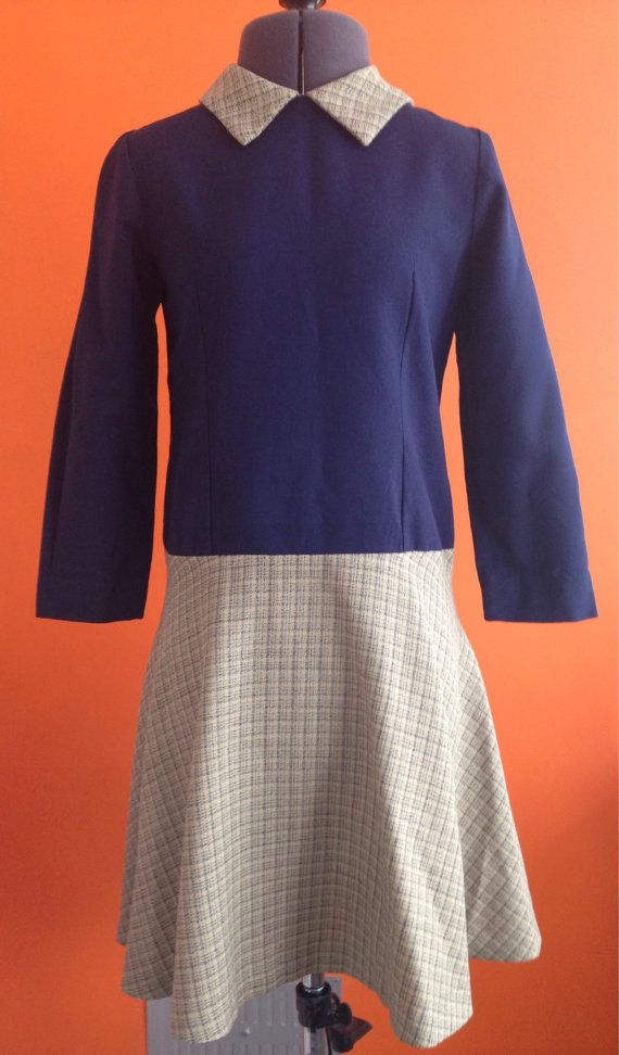 1960s Drop Waist Dress by stylesixties on Etsy #60s #mod #forsale #navy