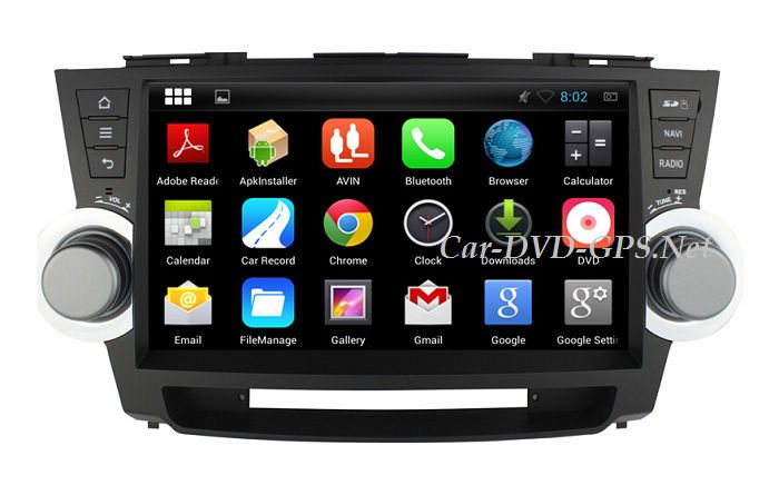 10 1 Inches Android 4 4 Head Unit Car Dvd Player For Toyota Highlander Kluger With Gps Navigation Bluetooth Radio Tv Gps Navigation Car Stereo Car Dvd Players