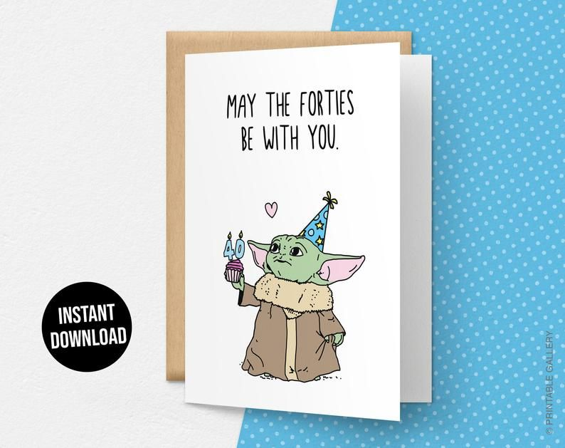 May The Forties Be With You Card, Funny Happy Birthday