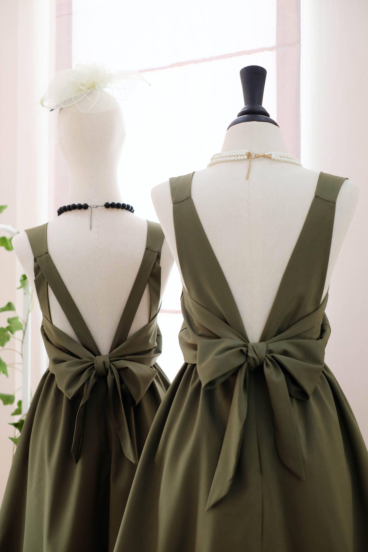 Olive Green dress Dark green Bridesmaid dress Wedding Prom ...