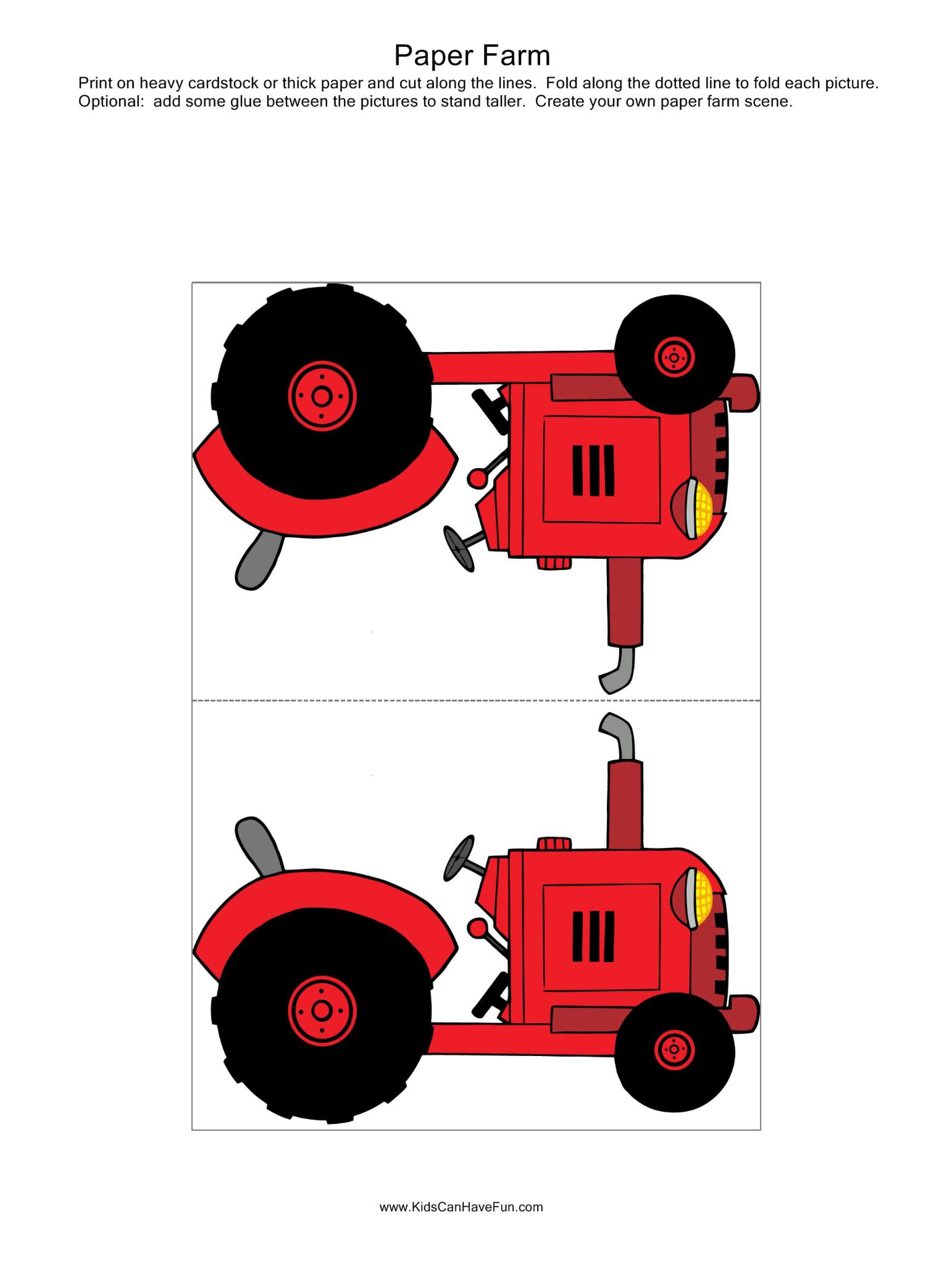 Paper Farm Tractor For Paper Farm Scene