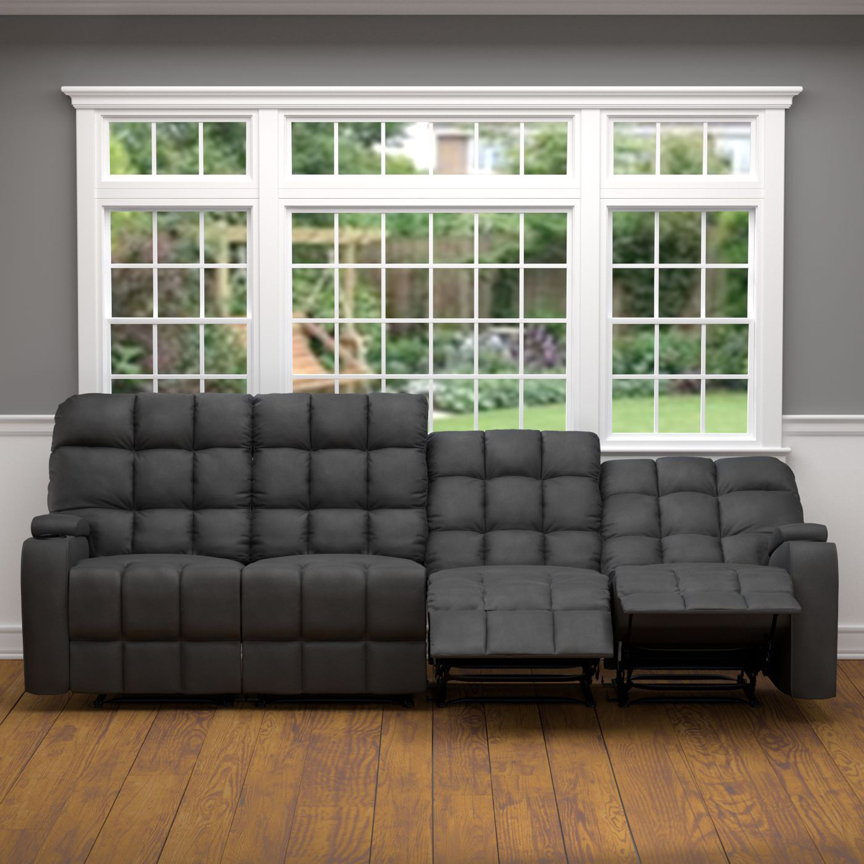 Awesome PORTFOLIO ProLounger Grey Microfiber Wall Hugger Storage 4 Seat Reclining  Sofa (Grey   4 PC