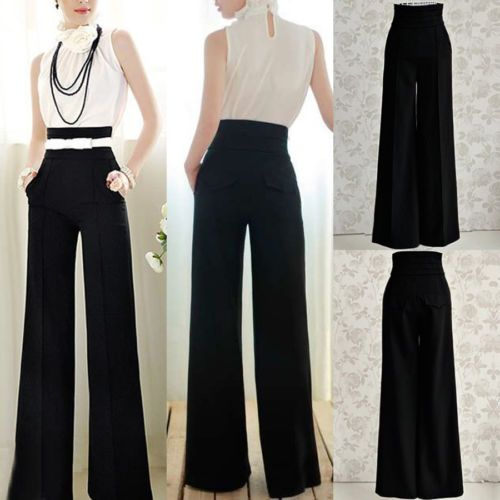 LADIES ZIP FRONT FLARED PALAZZO TROUSERS WOMENS WIDE LEG LONG HIGH WAIST PANTS