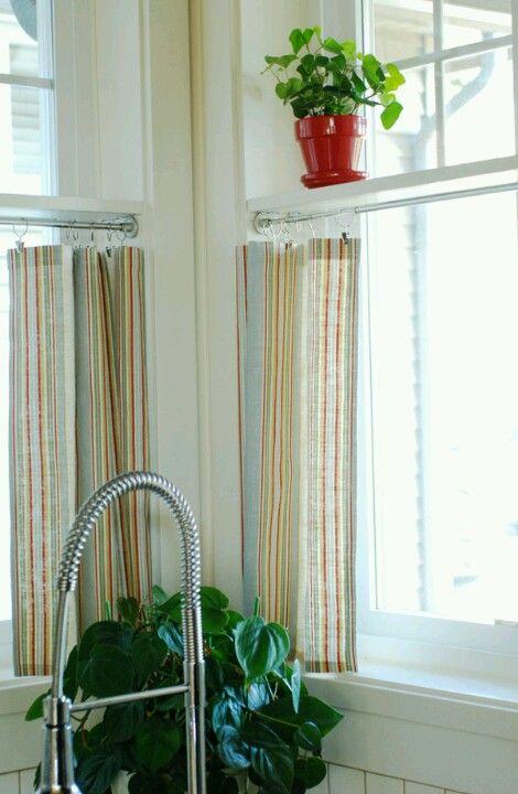 Shelf Inside Window Frame Cafe Curtains Windows Pinterest Stripes Shelves And Burlap