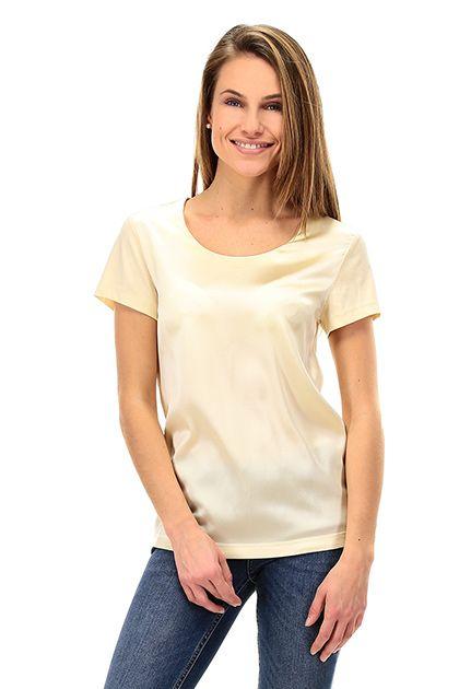 TWIN-SET SIMONA BARBIERI - T-Shirts - Abbigliamento - T-Shirt in seta e cotone con chiusura con bottoncino e scollo a goccia sul retro. - ECRU - € 77.87