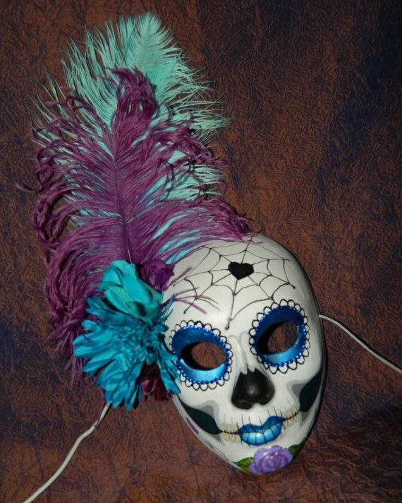 Mardi Gras Day Of The Dead Mask Mexican Blue Sugar By Masquefaire 63 00