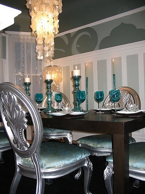 gorgeous aqua and silver dining room with capiz shell chandelier designer david bromstad of color - Silver Dining Table And Chairs
