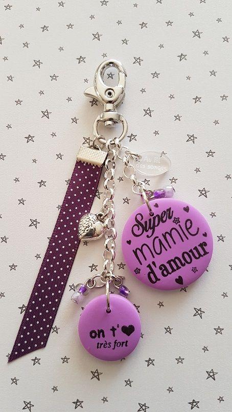 super mamie d 39 amour on t 39 aime violet portes clefs. Black Bedroom Furniture Sets. Home Design Ideas