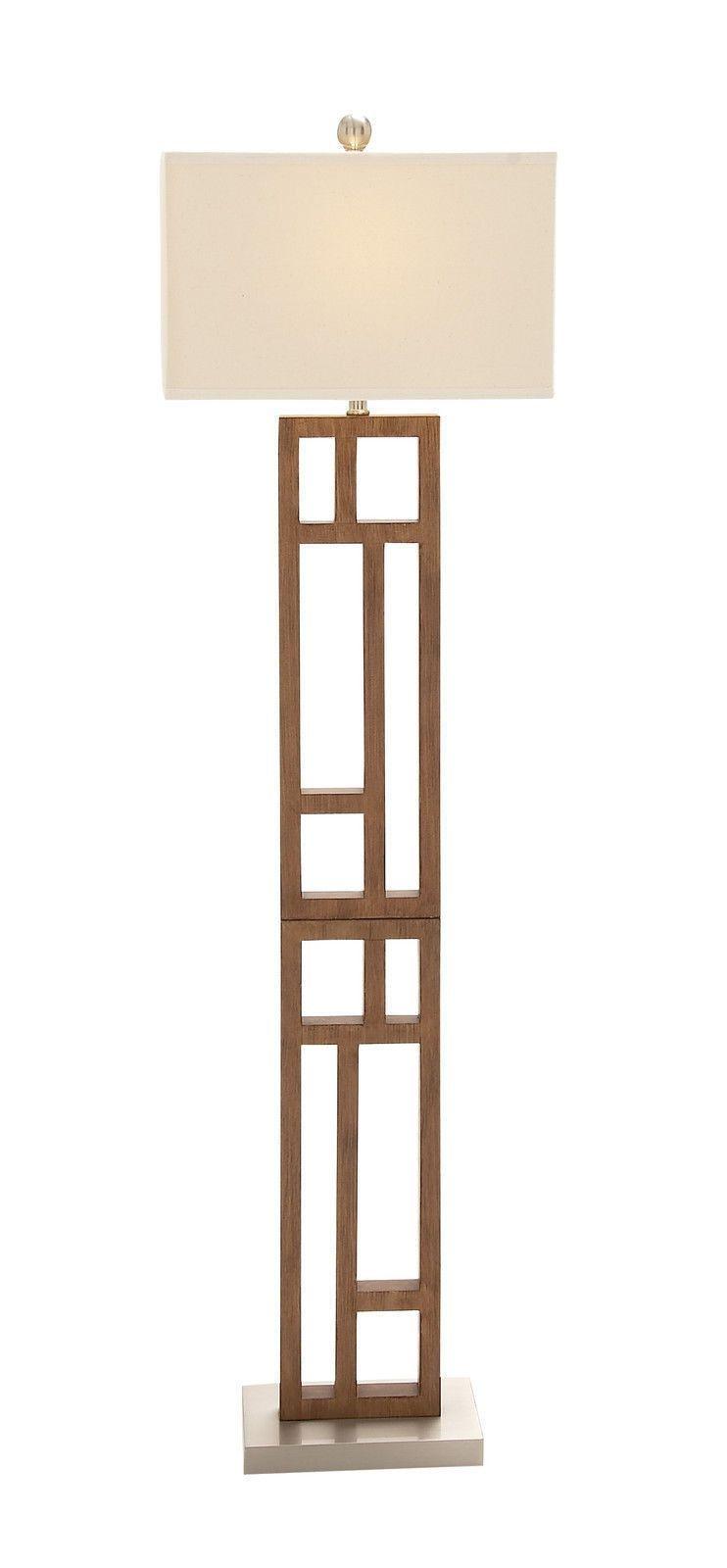 Modern 62 Standing Wood Stainless Steel Floor Lamp Contemporary Geometric Steel Floor Lamps Wooden Floor Lamps Wood Floor Lamp