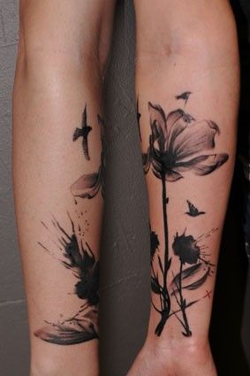 abstract. bird. flower. tattoo. | Grandpins   Love the detail in this! Just looking for some inspiration!