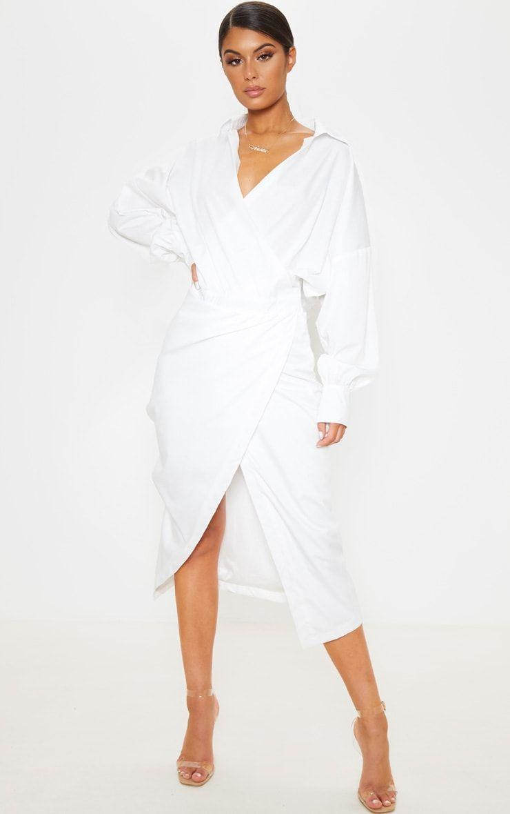 White Midi Shirt Dress In 2021 Midi Shirt Dress Wrap Dress Midi Shirt Dress [ 1180 x 740 Pixel ]