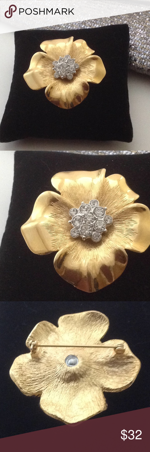 Gold tone brooch with big clear rhinestones new nwt brooches