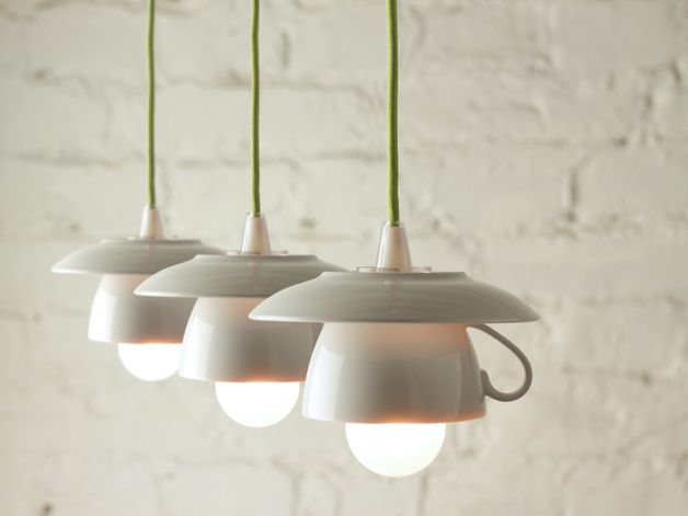 Hängelampen - 3er-Tassenlampe mit grünem Textilkabel - ein Designerstück von Der-Lampenladen bei DaWanda
