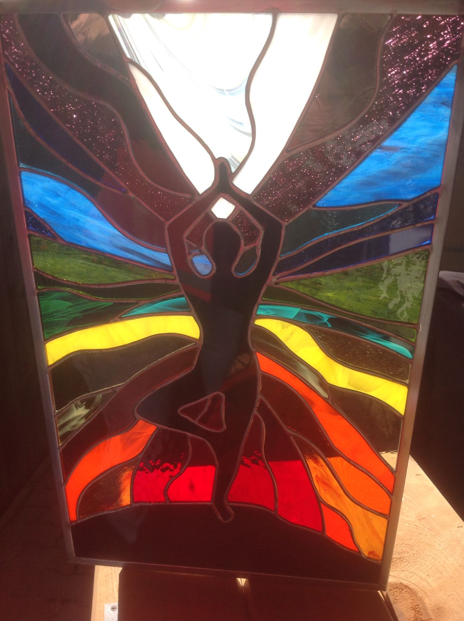 Tree Pose Yoga Chakras Silhouette Stained Glass