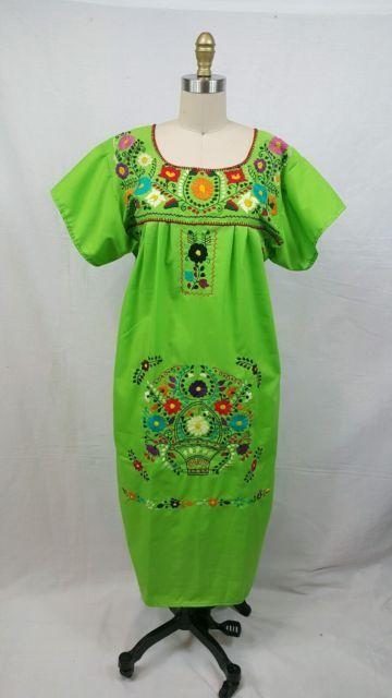 New Handmade Mexican Pueblo Dress Embroidered Floral Cotton Peasant